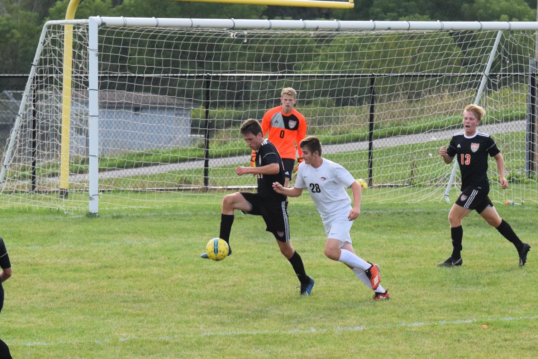 Nathan Walk defending the goal