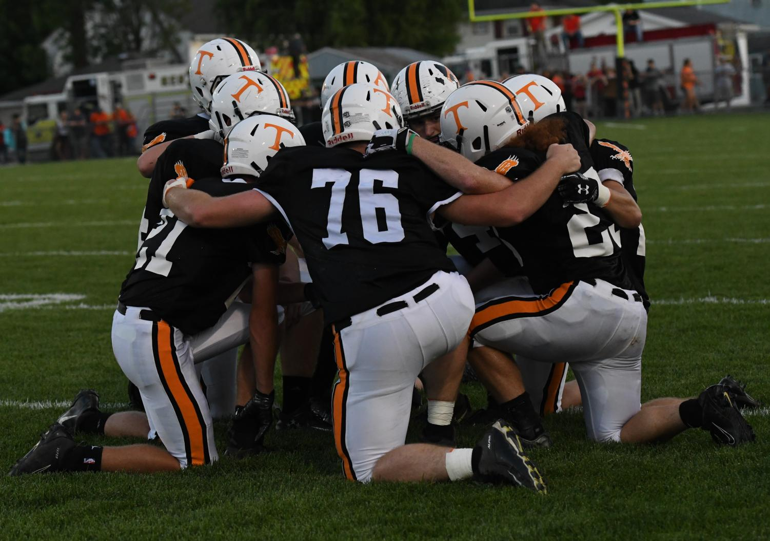 The Team huddled together during the Central game.