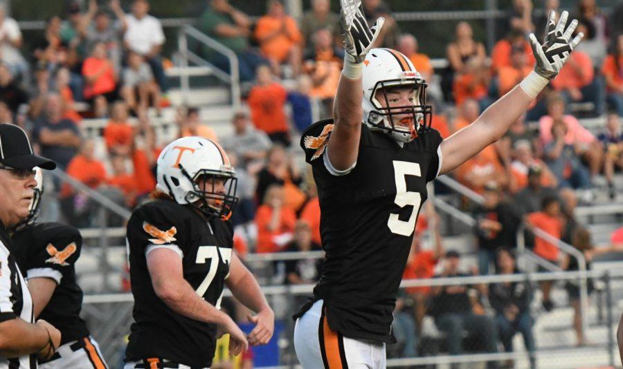 Broc Zimmerman celebrating his touchdown