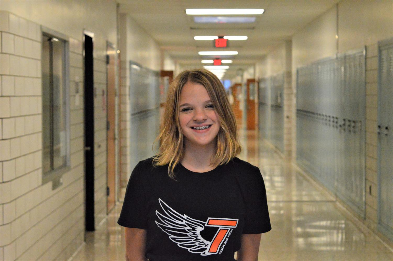 Abigail Kaspick is Freshman of the Week and loves the cafe and is enjoying High School.
