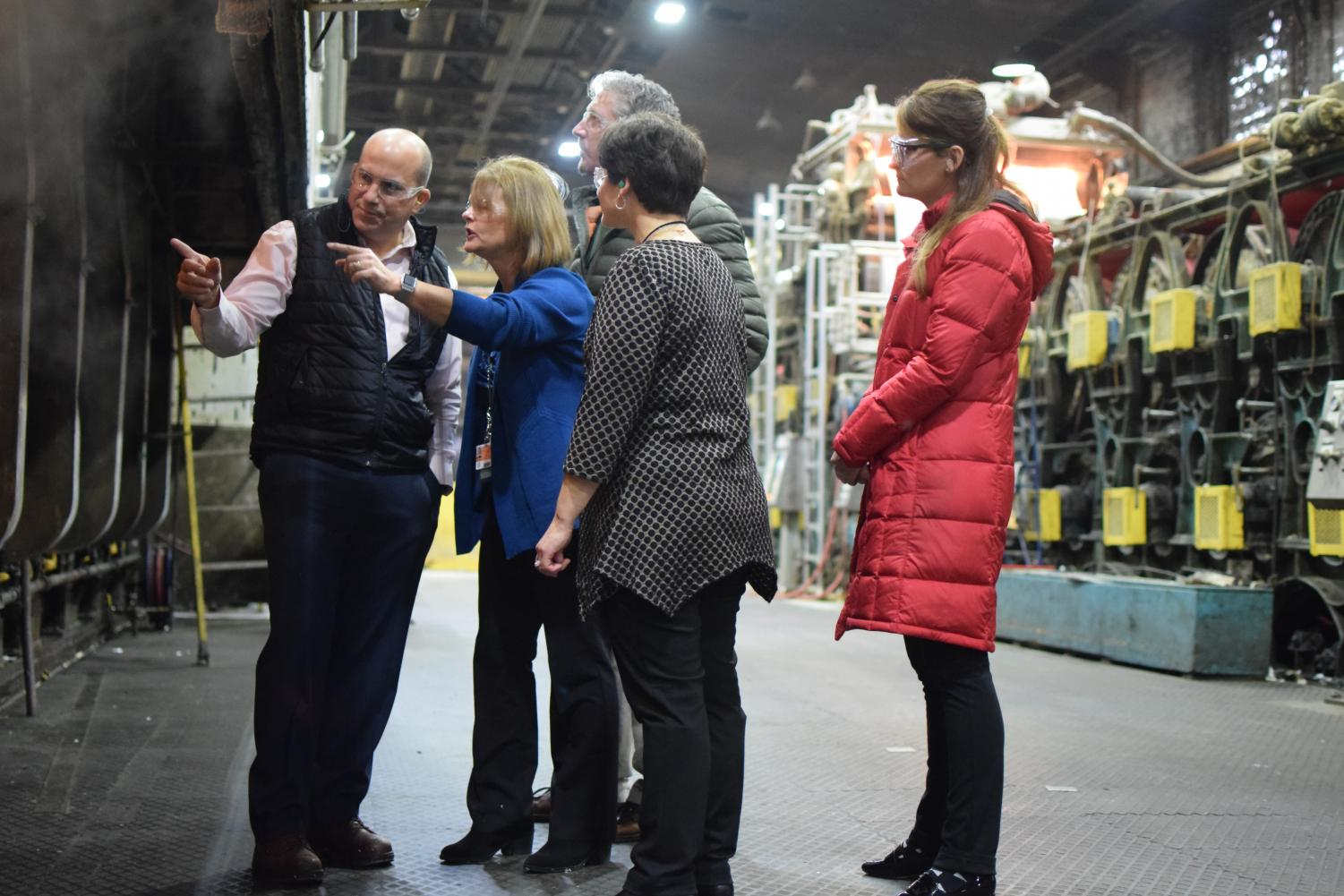 The American Eagle Paper Mill is one of the many businesses that indicate that good attendance is one thing they are looking for in new employees.  Here former Tyrone superintendent Cathy Harlow (second from left), teacher math teacher Chris Shedd, acting Superintendent Lesile Estep, and business teacher Angela Kline discuss the paper making process.