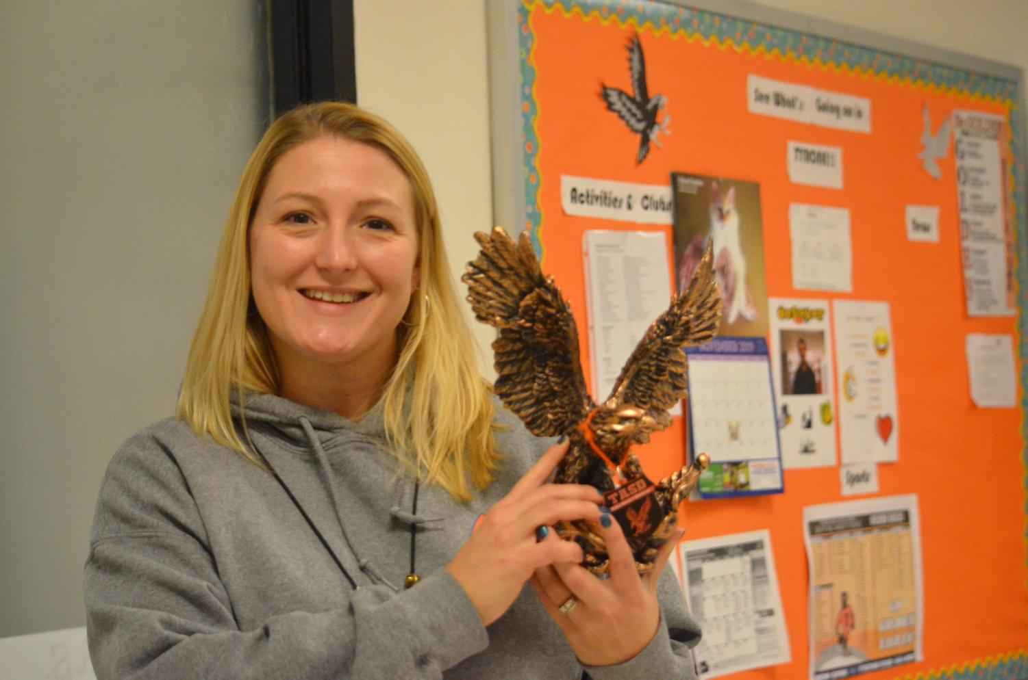 Learning support teacher Jessica Ellenberger  always goes above and beyond to help her students and coworkers.  She was nominated for the Golden Eagle award by Candy Eckles.