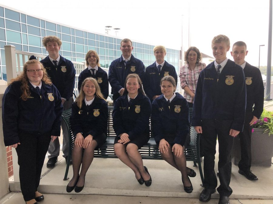 Members of the Tyrone FFA attended the Fall Leadership Conference in Altoona on October 1.   The members pictured are first row (left to right) Jillian Williams, Karly Diebold, Grace Peterson, Libby Buck, and Justin Jackson. Back row (left to right) Colin Jackson, Joshua Patterson, Jesse Nevel, Gavin Woomer, Catie Ewing, and Garin Hoy.