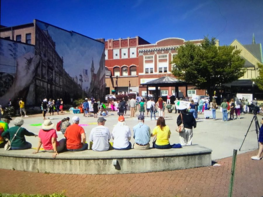 Between 180-200 people showed up for first #ClimateStrike Blair County event at Haritage Plaza in Altoona on October 20