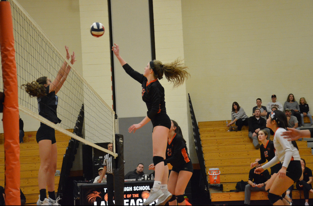 Tyrone junior Courtney Williams goes up for the block in this file photo.