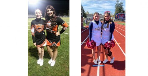 Olivia Watson and Kendra Walker as Tyrone cheerleaders in 2016 (left) and Juniata College cheerleaders in 2019  (right).