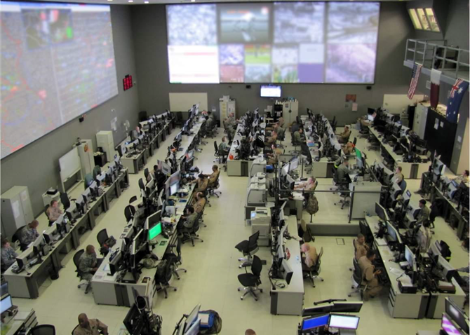 The floor of the Air Operations Center
