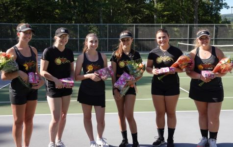 The 2019 Tennis Seniors: Winnie Grot, Megan Dale, Alicia Endress, Emilee Walk, Olivia Reese, and Lindsey Walk.