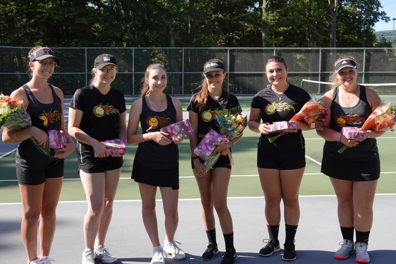The 2019 Tennis Seniors: Winnie Grot, Megan Dale, Alicia Endress, Emilee Walk, Olivia Reese, and Lindsey Walk.
