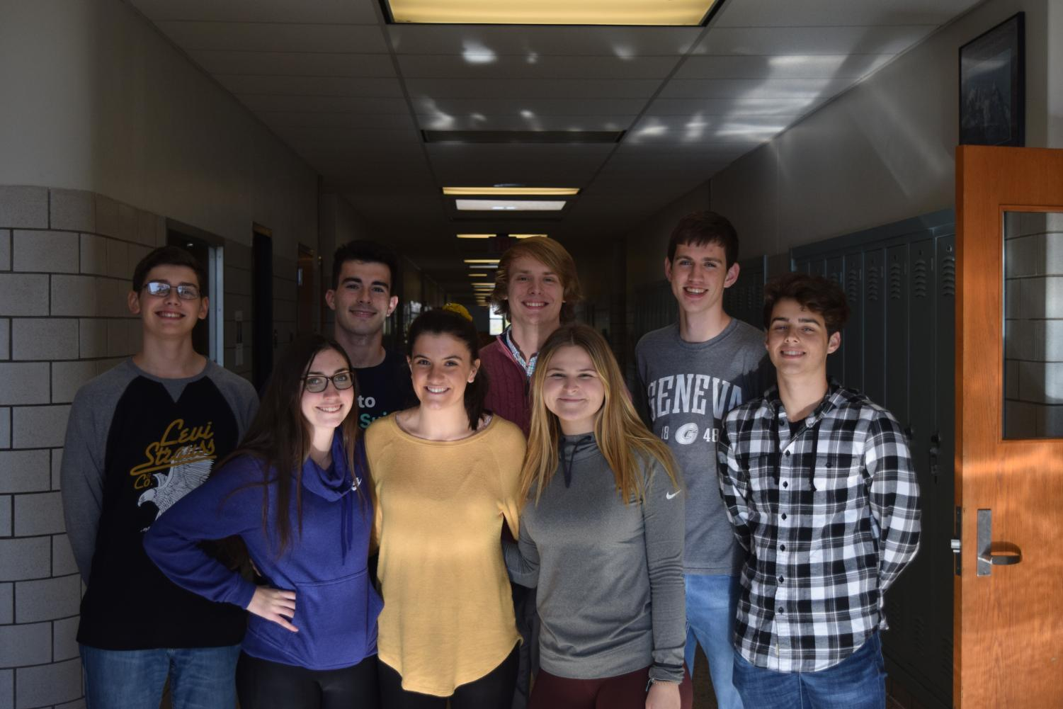 The 2019 Quiz league team.   From left: Tyler Beckwith, Nick Vasbinder, Brent McNeel, Nathan walk , Dan Parker, Alicia Endress, Mattie Cherry and Lucia Isenberg