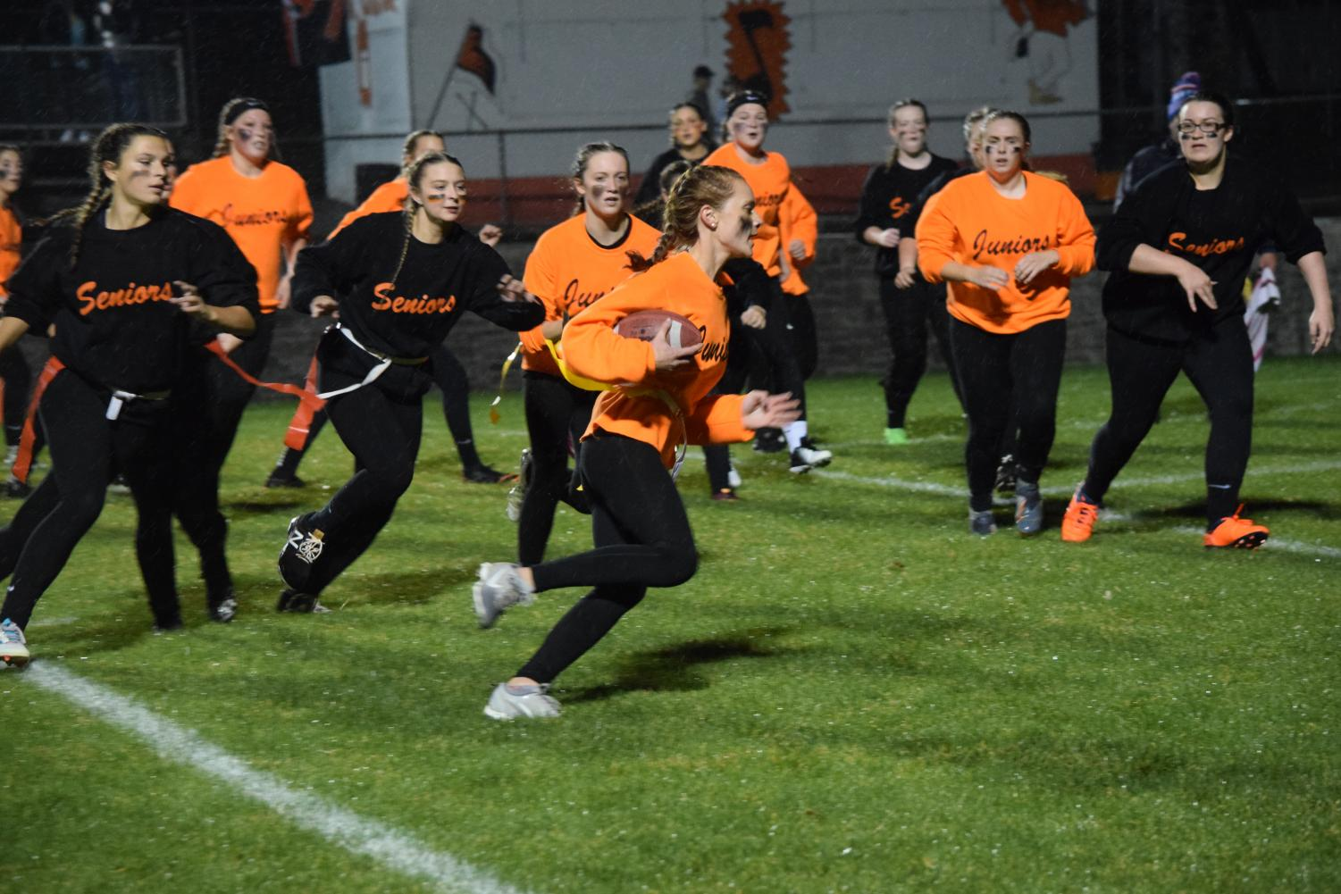 Ella Pearson running it into the endzone for her second touchdown of the night.