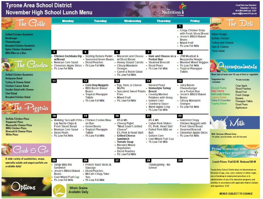 Lunch menu for November 2019