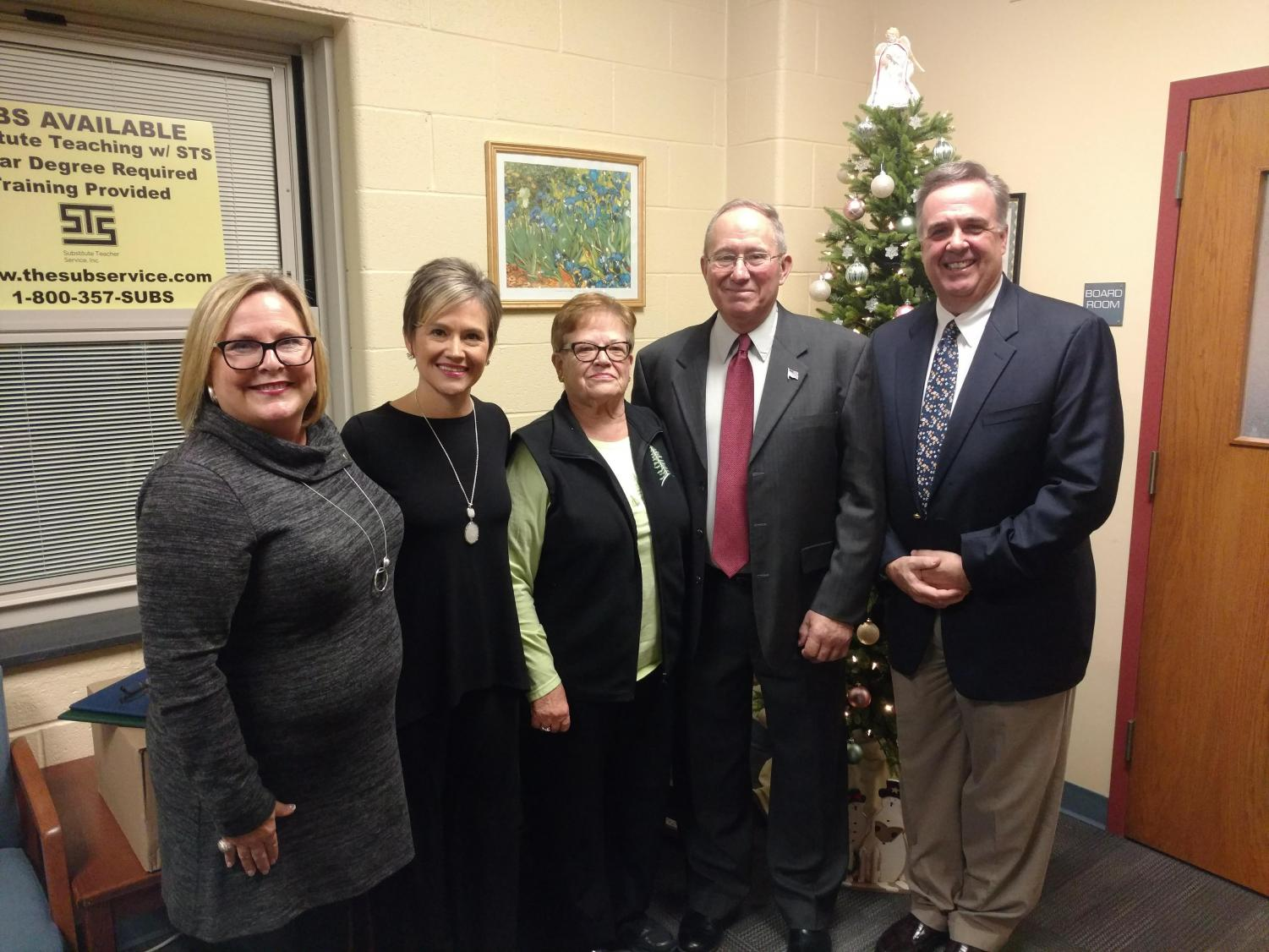 State Representative Judy Ward, Mr. Crawford's daughter Kelly Crawford Fedeli, Mr. Crawford's wife Bonnie Crawford, Jim Crawford, and State Representative Jim Gregory were all on hand to honor Board President Jim Crawford for his 36 years of service to TASD