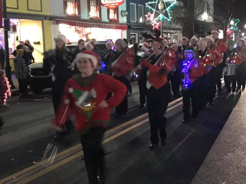 The TAHS Marching Band at the 2019 Tyrone Christmas Parade