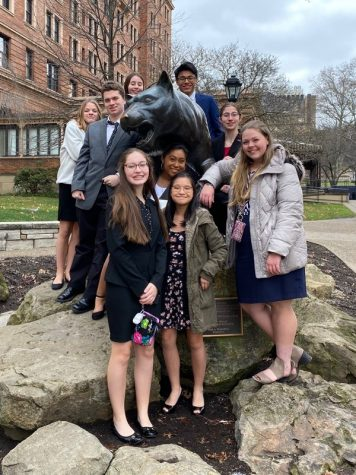 Tyrone mock trial students on the University of Pitt Campus