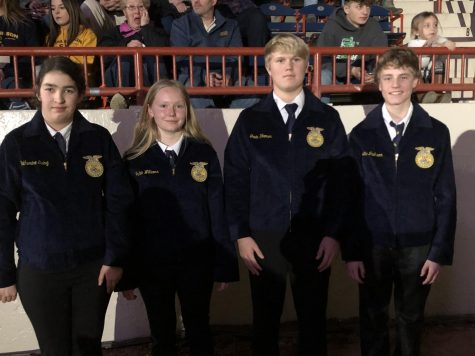 The five first-year jacket recipients displaying their Official FFA jackets. Left to right: Catie Ewing, Jaden Williams, Gavin Woomer, and Justin Jackson. Missing from photo: Kevin Killinger.