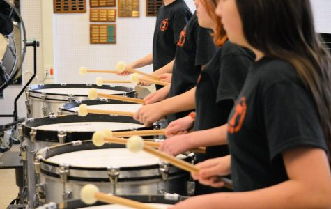 Group of percussionists practicing for a competition.