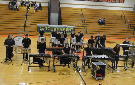 Tyrone indoor percussion getting ready to preform their  Nightmare Before Christmas show.