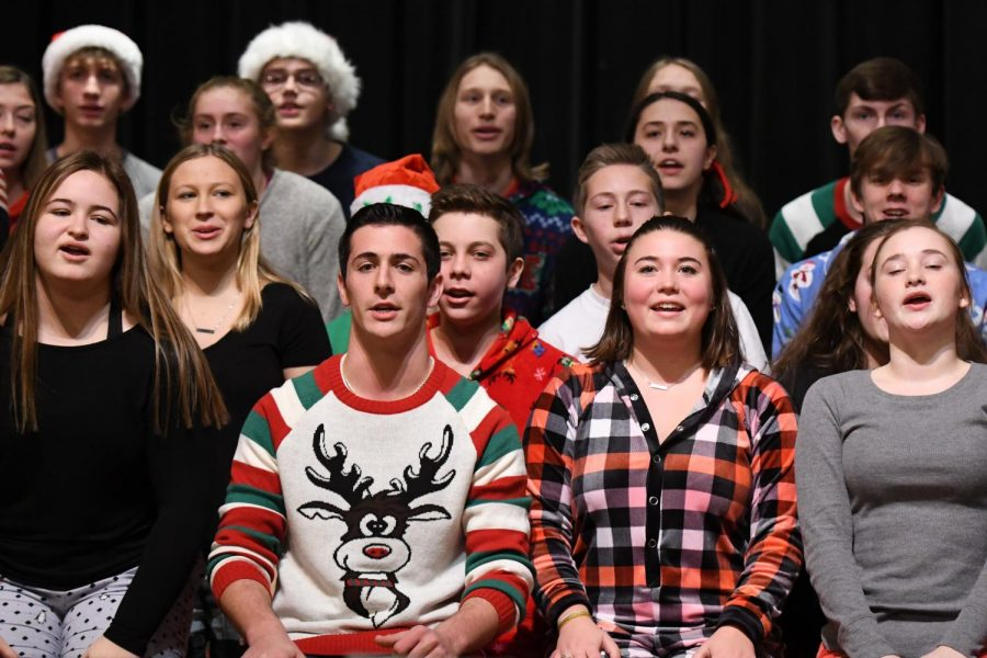 POP's Extension performs at the annual Christmas assembly.