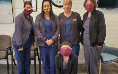 Nurses at Dr. Reinhardt's office in Altoona wearing Jane Hyde's homemade medical masks.