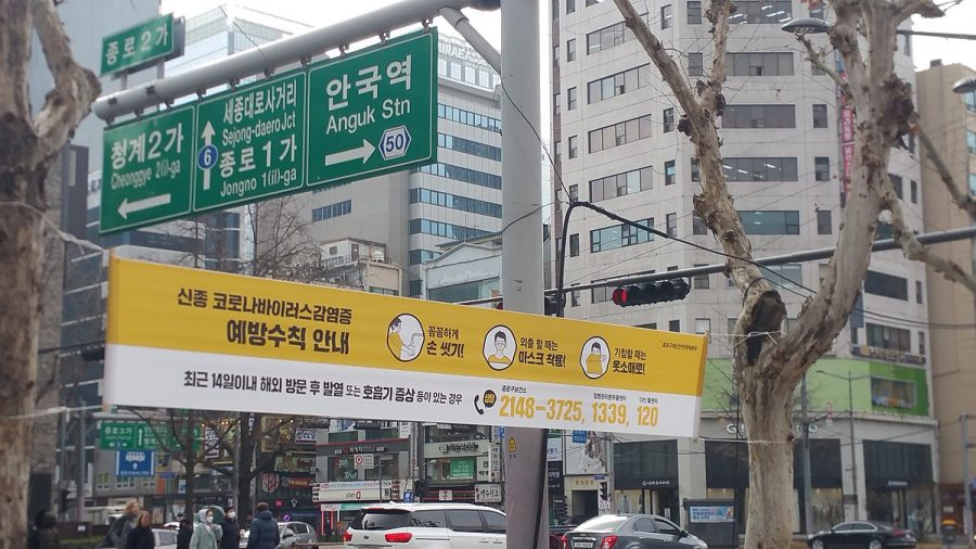 A banner with Coronavirus infection prevention tips hangs in Jongno, Seoul, South Korea. Photo from February 22, 2020.