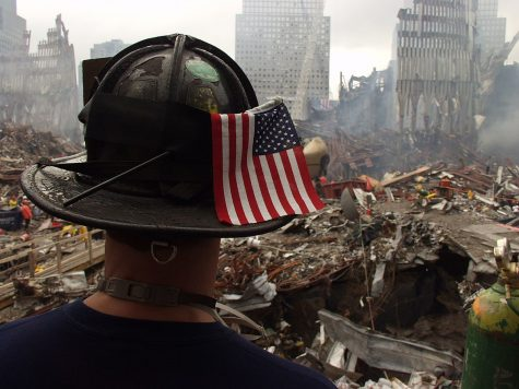 New York, NY, September 25, 2001 -- A firefighter surveys the remaining shell and tons of debris of the World Trade Center. Clearing the rubble from the collapsed twin towers and other surrounding buildings is a daunting task for the hundreds of workers at the site of the terrorist attack. Photo by Mike Rieger/ FEMA News Photo