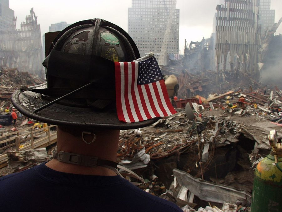 New+York%2C+NY%2C+September+25%2C+2001+--+A+firefighter+surveys+the+remaining+shell+and+tons+of+debris+of+the+World+Trade+Center.+Clearing+the+rubble+from+the+collapsed+twin+towers+and+other+surrounding+buildings+is+a+daunting+task+for+the+hundreds+of+workers+at+the+site+of+the+terrorist+attack.+Photo+by+Mike+Rieger%2F+FEMA+News+Photo