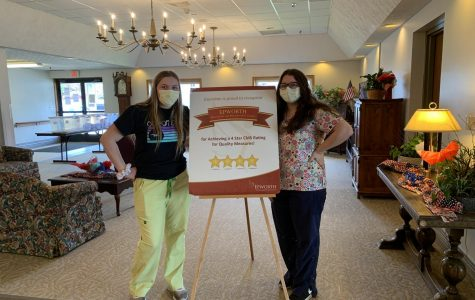 Tyrone senior Zoey Hampton and junior Alaina Heverly are both essential workers at Epworth Manor in Tyrone.