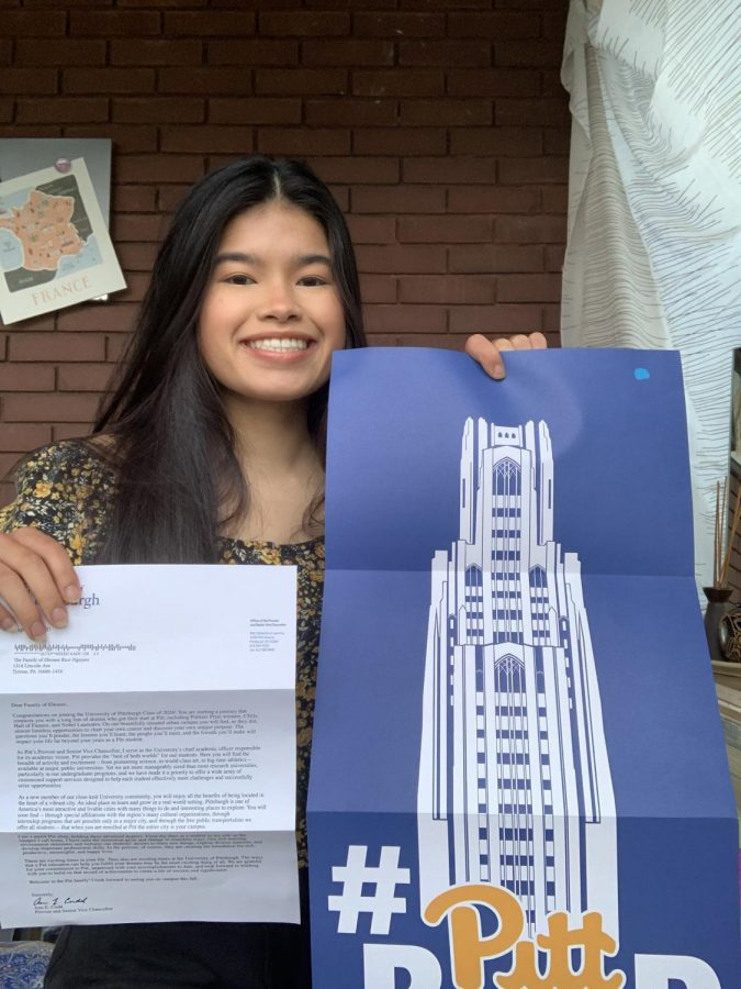 Rice with her University of Pittsburgh acceptance letter. She will major in medical anthropology.