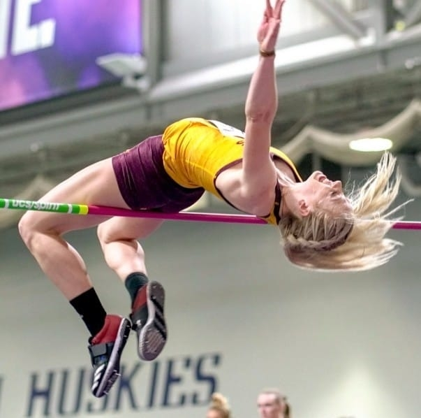 Voyzey competed  in high jump at Miami University and Arizona State University but decided to end her collegiate athletic career early to focus on her studies during her senior year.