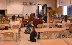 The district put many desks and classroom furniture in storage so that teachers could reorganize their classroom environment to encourage social distancing.