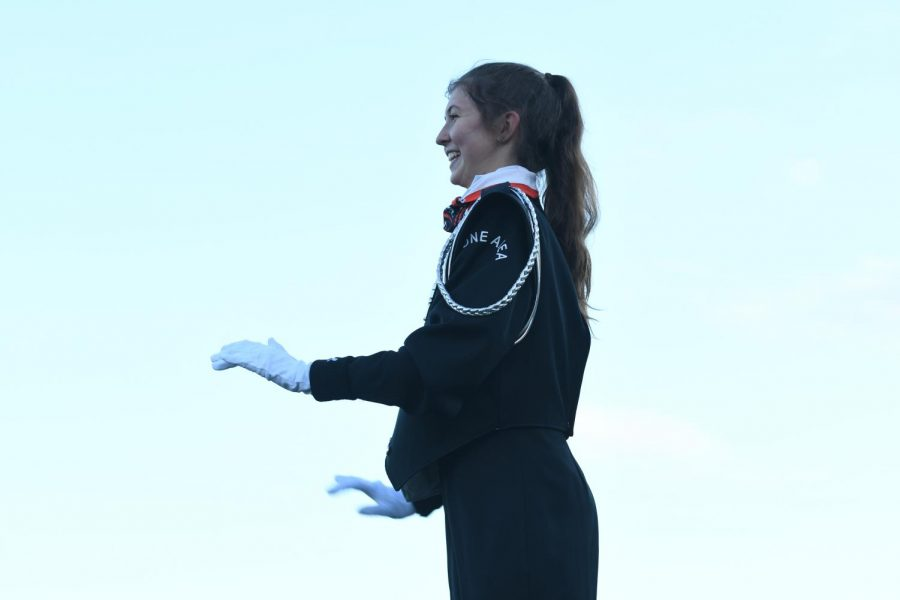 Becca White has been Drum major in the marching band for 3 years now