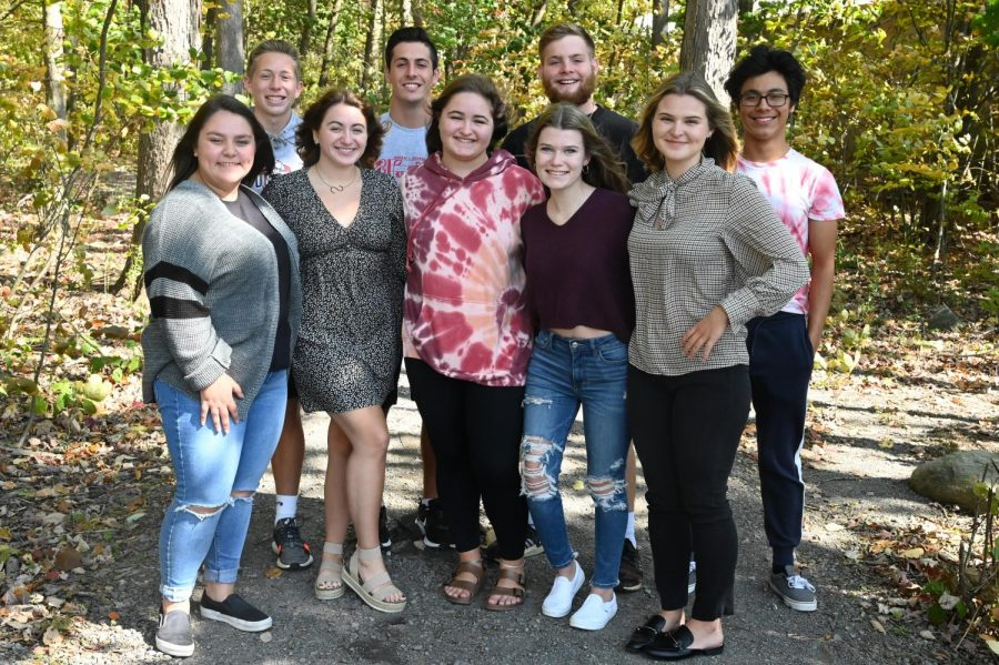 Front row: News Editor MacKenzie Hyde, Editor in Chief Sarah Jackson, Assistant Photo Editor Ellie Oakes, Social Media Editor Katie Buck, Photo Editor Lucia Isenberg. Back row: Sports Editor Kelton Raabe, Assistant Sports Editor Dean Grassi, Business Manager Nick Lewis, Features Editor Mario Grugan