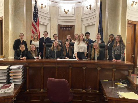 The Mock Trial A team at the Cambria County Courthouse last season.