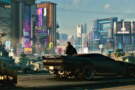 Game scene showing the cityscape of Cyberpunk