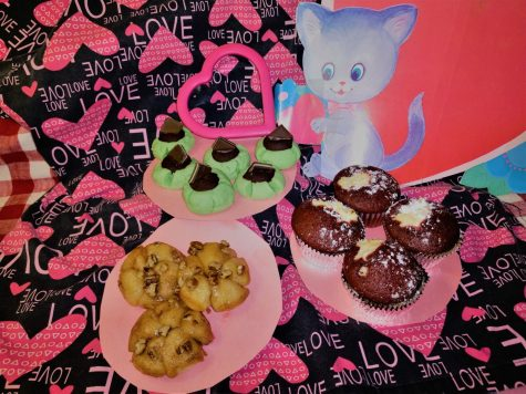 Chocolate mint, red velvet and sticky bun confections enrolled into a festive, timely display of love.