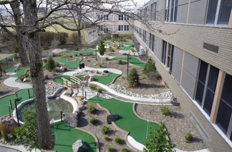 The first nine holes of the Golden Eagle Golf Club are open on the front side of the courtyard.  The other nine holes will be constructed on the other side next school year.