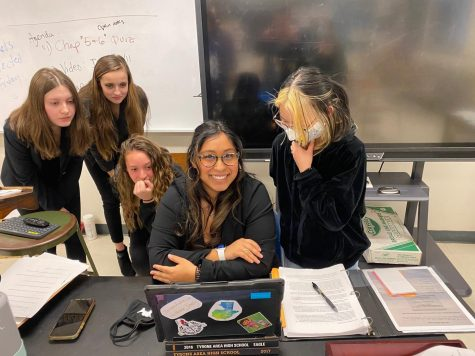 Emily Dale, Alysa Wheland, Cassidy Miksich, Ashlynn McKinney and Sarah Butina all listen to the judges comments following the Mock Trial Regional Final on Tuesday, March 16.  The trial was held on Zoom against Greensburg Salem.