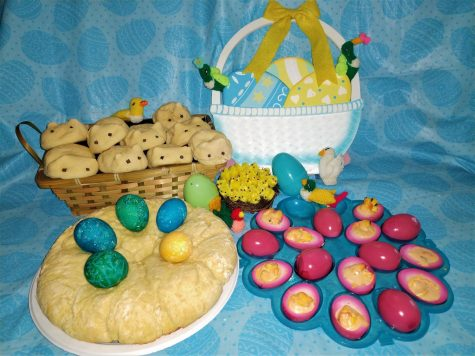 Easter eggs and Easter birds flocking around rabbit-shaped rolls, deviled-pickled eggs, and Easter egg bread.