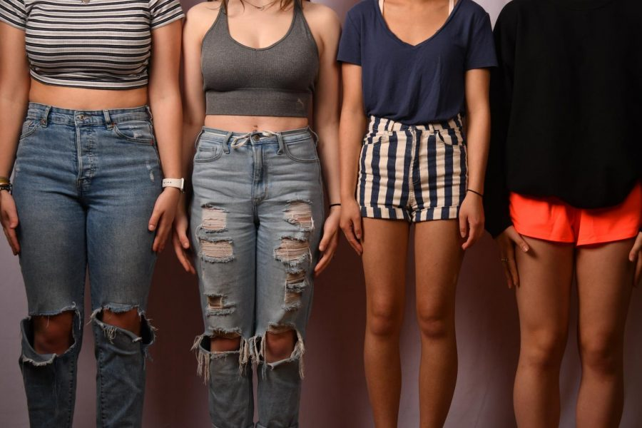 Four different students display different circumstances of being out of dress code.