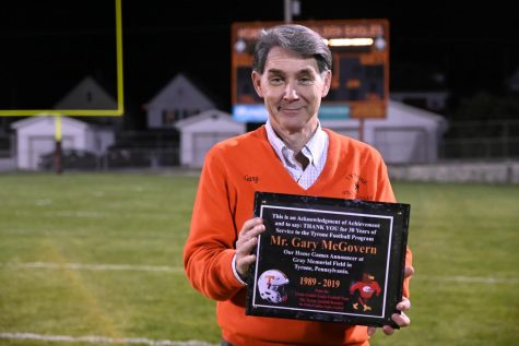 At the Powderpuff game Gary McGovern was presented with a plaque for announcing for 30 years.