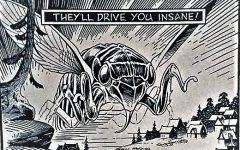 Screenshot of Sandy Plunkett's cartoon of cicada Brood V made for the Athens News.