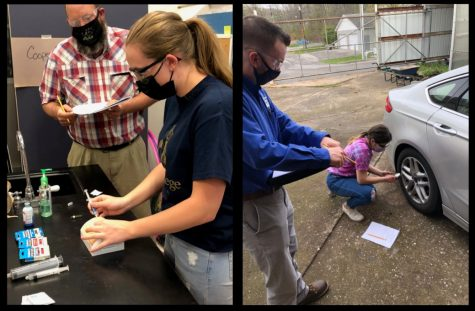 Left: Senior Karly Diebold utilized the injection pads purchased by the FFA chapter through a grant from Tractor Supply Company. Right: Senior Elizabeth Buck is scored by Production Agriculture Proctor Jonathan Seaman from Penn State.