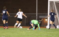Junior Chloe LaRosa heading towards the goal after the Penns Valley keeper missed the ball.