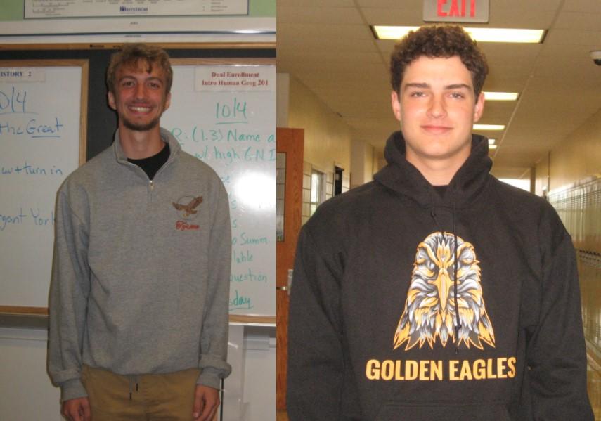 TAHS senior Jake Greene (left) models the grey quarter zip sweatshirt and senior Luke Brooks (right)  models the black hooded sweatshirt.