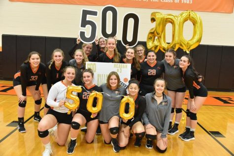 Celebrating Reagan Irons 500th Kill at the end of the match against Bellefonte.